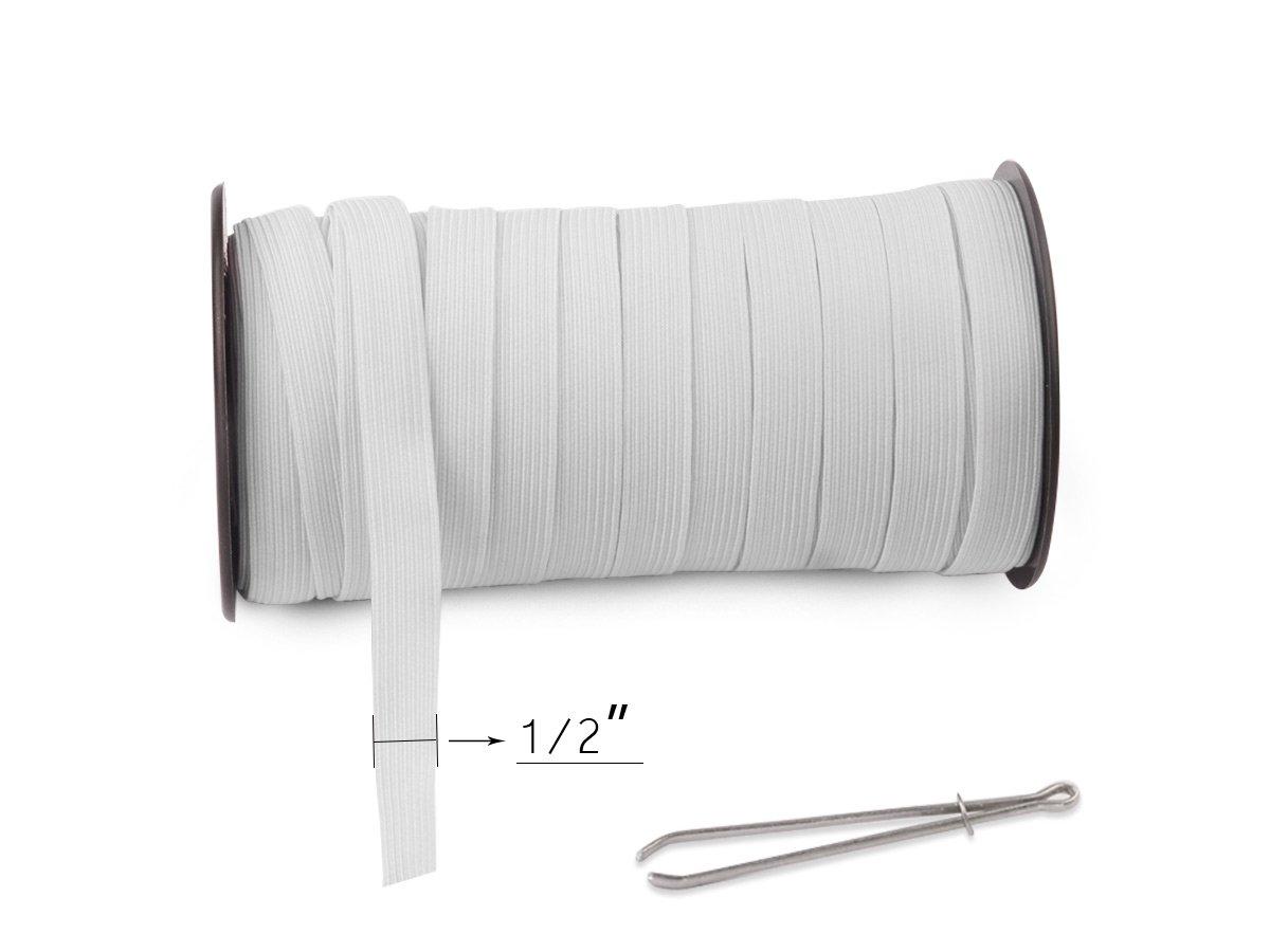 Top Hunter White 120-Yards Length 1//8 Width Braided Elastic Cord//Elastic Band//Elastic Rope//Bungee//White Heavy Stretch Knit Elastic Spool White