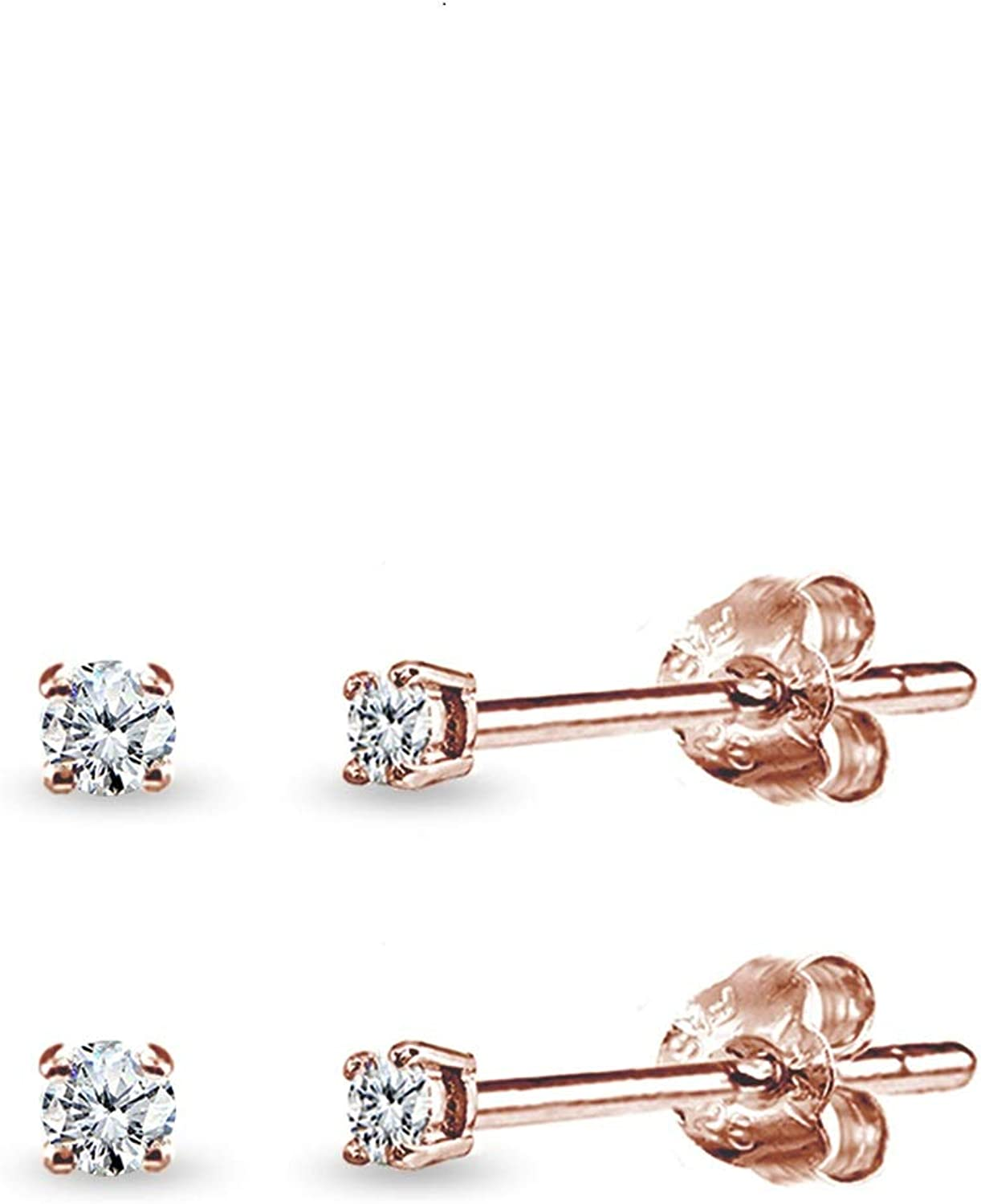 Rose Gold Flashed Sterling Silver Cubic Zirconia Round 2mm Tiny Unisex Stud Earrings Set Of 2 Pairs Jewelry Amazon Com