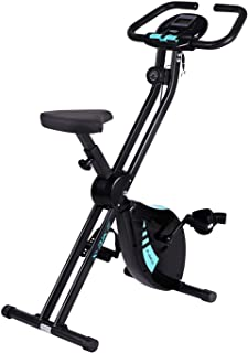 Folding Exercise Bike 8 Level Magnetic Resistance Upright Stationary Cycling Bike with LCD Monitor and Adjustable Seat for Home Office Use