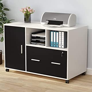 Tribesigns Large File Cabinet with Drawer and Lock, Modern Mobile Lateral Filing Cabinet Printer Stand with Wheels, Door and Open Storage Shelves for Home Office (White)