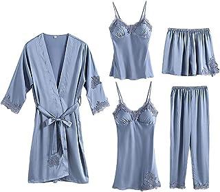 Sentao 5pcs Pajama Set Women Casual Dressing Sleepwear Set Pyjamas Lingerie Nightwear Set Homewear Suits
