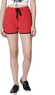 RUTE Women's Cotton Red Self Tie Waist Mid Loose Shorts for Women's & Girls with Plus Size
