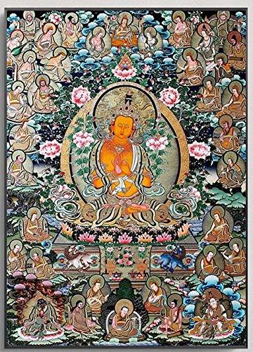 Z.L.FFLZ Tibetisch Buddha Malerei Thangka Indien Chinesische Religion Stil Leinwand Druck Malerei Poster Kunst Wandbilder für Flur Wohnkultur (Color : A, Size (Inch) : 13x18cm)