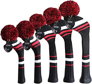 Scott Edward Golf Club Covers Set of 5 Double-Layer Yarn Knitted Style Fit Snug for Driver Wood(460cc) 1 Fairway Wood2 and Hybrid(UT) 2