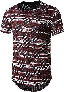 ESKNAS Men's Short Sleeve T-Shirt Summer Casual Tie-Dye Gradient Sports Top Crew Neck Tees Shirt