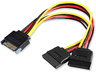 Electop SATA Power Splitter Cable, 6 Inch 15 Pin SATA Male to Dual Female Power Cable