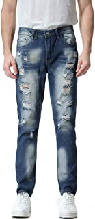 TANLANG Men Jeans Men's Ripped Slim Fit Straight Denim Motorcycle with Broken Holes Younger-Looking Pants