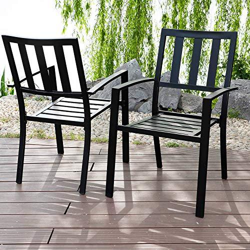 PHI VILLA Black Outdoor Patio Metal Steel Dining Arm Chairs Set of 2 for Garden,Backyard,Living Room