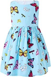 SMILING PINKER Little Girls Dress Butterfly Swing Party Summer Cotton Dresses for Baby Toddler