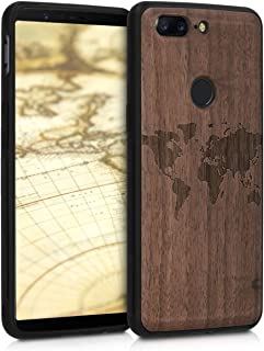 kwmobile Wooden Case for OnePlus 5T - Hard Case with TPU Bumper - Travel Outline, Walnut