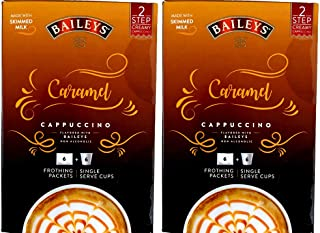 Baileys Caramel Cappuccino Single Serve Cups + Frothing Packets 6 Ct Each (Pack of 2)