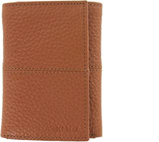Cole Haan Mens Cognac Leather Tri-Fold Wallet