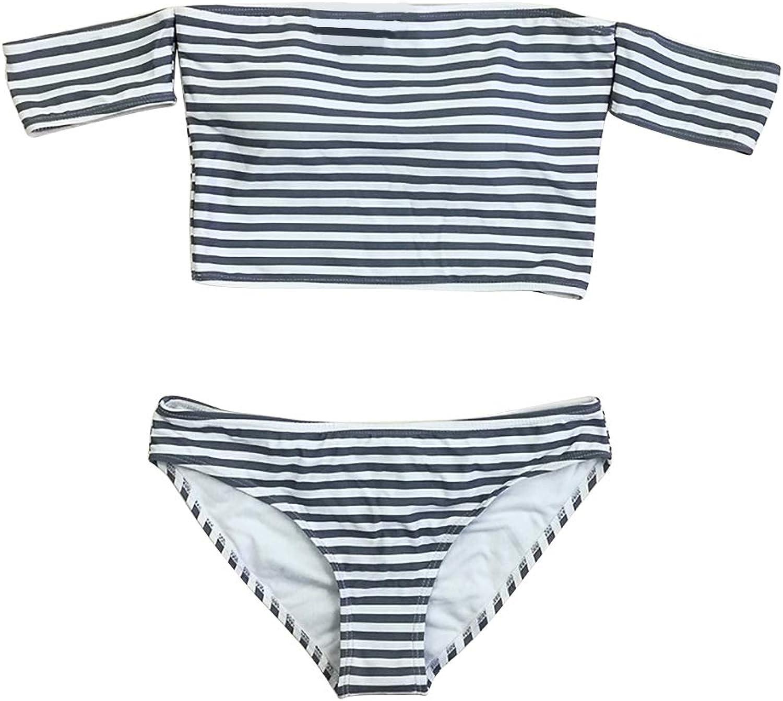 GIRL AND SEA Women Strapless Off Shoulder Two Piece Stripes Bikini Swimsuit Tankini Set
