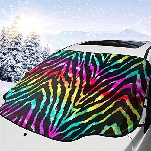 Regenbogen Zebra Haut Auto Front Windschutzscheibe Schneedecke Schnee und EIS Schutz Im Winter für Automobile Vehicle Minivan 58×46.5 Zoll