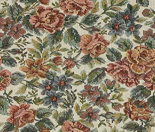Möbelstoff Gobelin MARC 532 Blumenmuster Farbe multicolor als robuster Bezugsstoff, Polsterstoff bunt geblümt zum Nähen und Beziehen, Polyester, Baumwolle