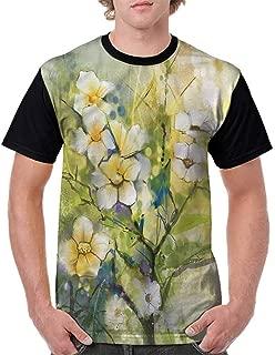 BlountDecor Printed T-Shirt,Watercolor Japanese Cherry Fashion Personality Customization