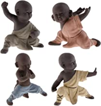 Flameer 4 Pieces Chinese Kungfu Tea Pet Little Buddha Monk Color Sand Statue for Home Tea House Tea Party Decor