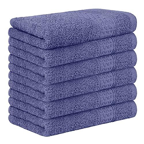 Yoofoss Juego de 6 Piezas Toalla de Mano 33x50 cm 100% Algodón Toallas Invitados Toallas de baño de Lujo para el hogar los baños el Gimnasio púrpura