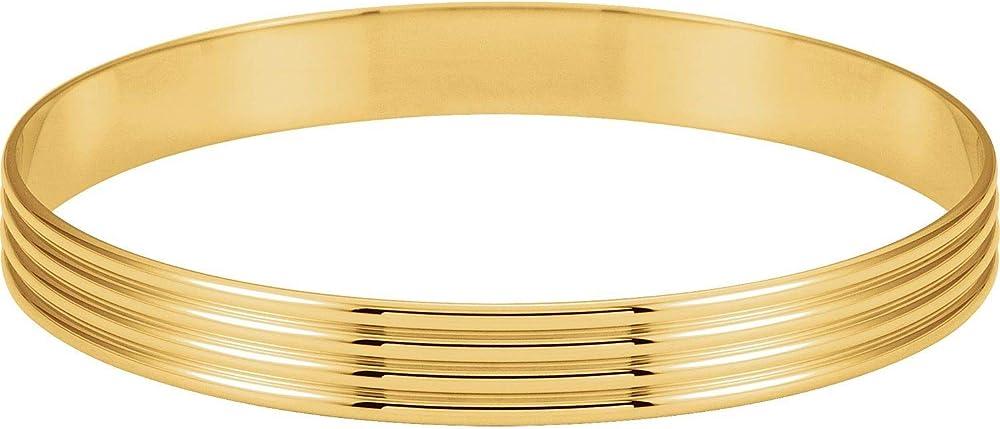 Diamond2deal,bracciale rigido per donne, in oro giallo 14kt(20,65 gr) con scanalature BRC81:102934:P