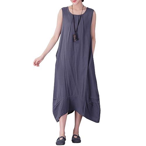 36251f77bf621 YUHEYUHE Women s Casual Loose Sleeveless Sundress A-line Summer Soft Long  Midi Cotton Linen Dresses