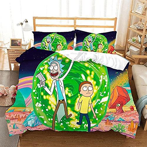 Aatensou Rick and Morty - Juego de ropa de cama con diseño de anime en 3D, 1 funda nórdica y 2 fundas de almohada de microfibra (5,220 x 240 cm + 80 x 80 cm)