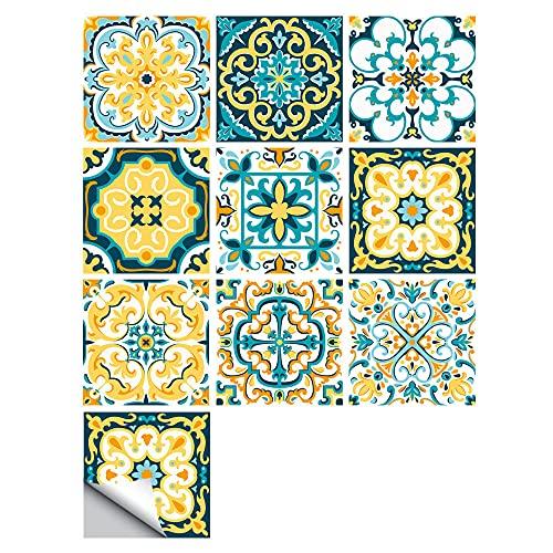 Pegatinas para azulejos de mandala impermeables, autoadhesivas, autoadhesivas, retro, cuadradas, para decoración de muebles de cocina, baño, 20 cm x 20 cm x 10 unidades