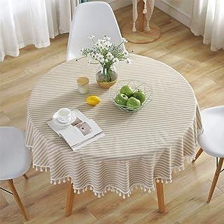 comprar comparacion Meiosuns Mantel Redondo Mantel a Rayas Mantel de algodón Simple Uso Interior y al Aire Libre (Diámetro 120cm, Albaricoque/...