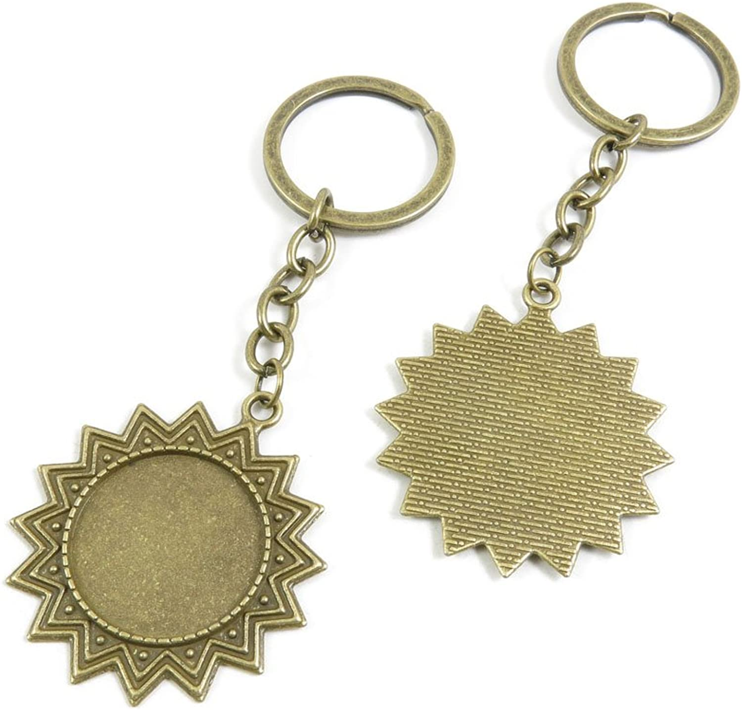 120 Pieces Fashion Jewelry Keyring Keychain Door Car Key Tag Ring Chain Supplier Supply Wholesale Bulk Lots H4LJ1 Sun Round Cabochon Frame Setting 25mm