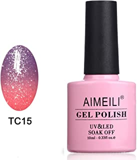 AIMEILI Soak Off UV LED Temperature Color Changing Chameleon Gel Nail Polish - New Glitter Purple To Pink (TC15) 10ml