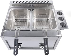 6Lx2 Commercial Countertop Fryer, Stainless Steel Large Double Cylinder Liquid Propane Deep Fryer for Restaurants and Snack Bar