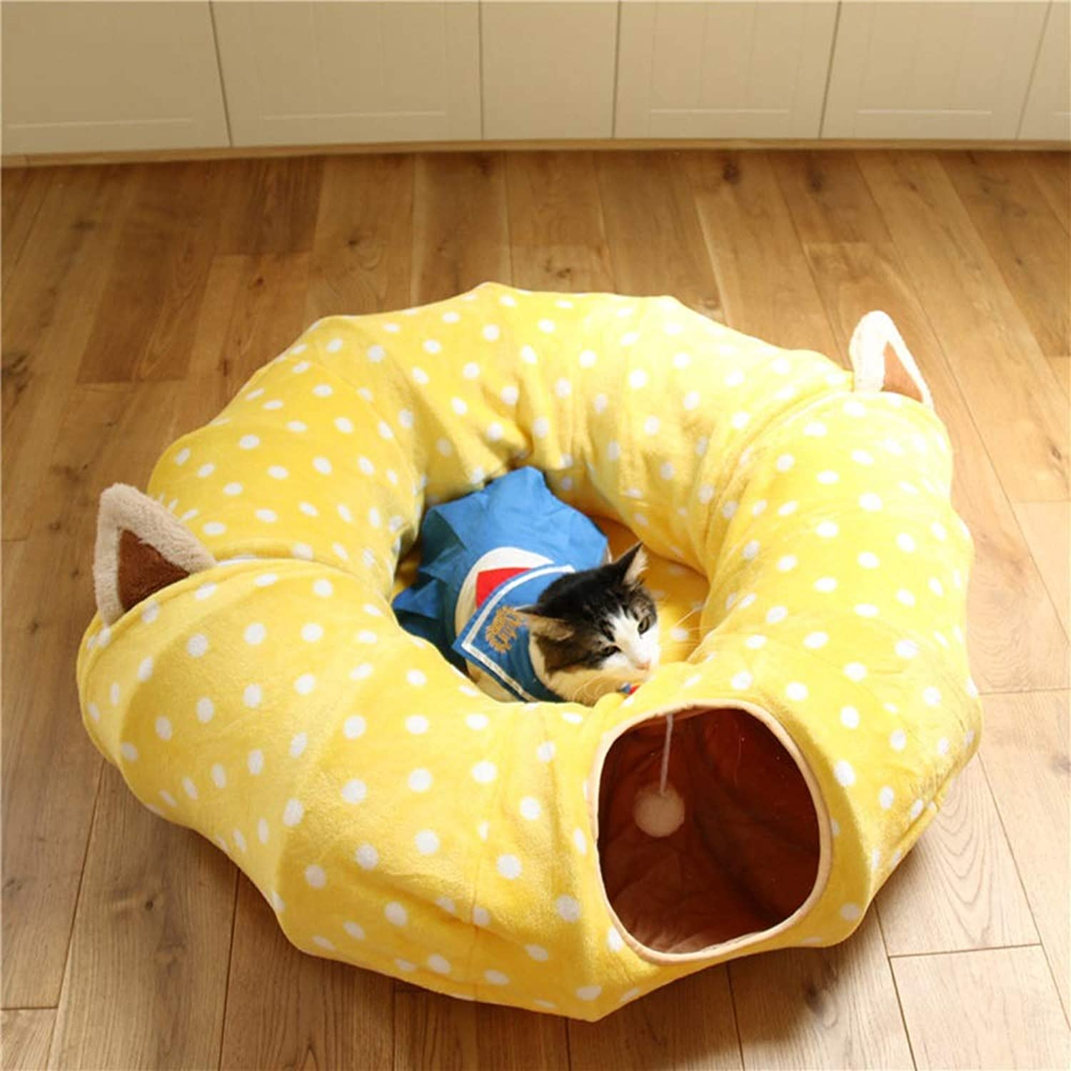 Odfbgfj Foldable Cat Tunnel Channel Rolling Cat Litter Plushs Toy Suitable For Cats And Dogs (color   Yellow1, Size   A)