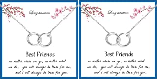 Best Friend Interlocking Circle Necklace for 2,Dainty Double Infinity Circle Pendent Necklace Message Card Jewelry Birthda...