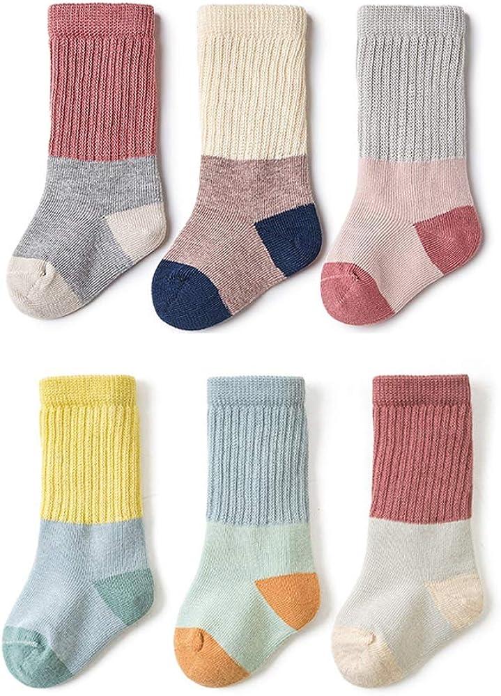 Unisex-Baby Kids Cute Retro Crew Socks, Toddler Infants Socks,3/6 Pairs Little Girls Boys Cotton Knee High Socks Set,0-5T