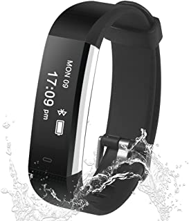 Fitness Tracker, Smart Watch Waterproof Pedometer Activity Bluetooth Wristband with Sleep Monitor Sports Bracelet Calories Track SMS/Call Remind for iOS and Android Smart Phone