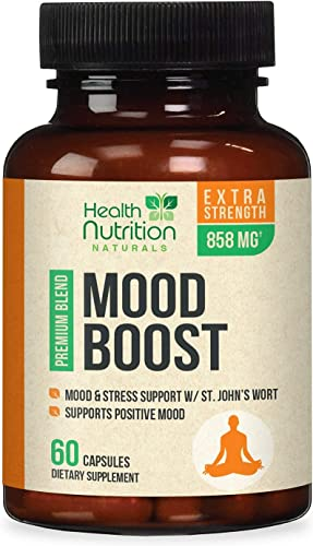 high quality Mood outlet sale Boost Support for Stress 1100mg - Positive Mood and Focus Support Supplement, Made in USA, Natural 2021 Serotonin and Dopamine Nootropic Formula with 5-Htp, Ashwagandha, GABA - 60 Capsules sale