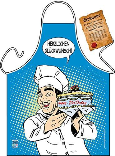 Goodman Design  Kochschürze mit Urkunde: Herzlichen Glückwunsch, Chefkoch mit Torte - Grillschürze, Schürze - Geschenk zum Geburtstag