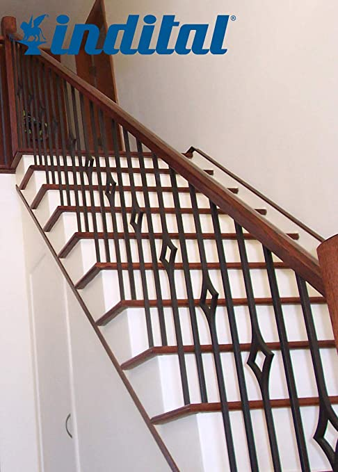 Indital PC44-1-0002 Powder Coated Wrought Iron Baluster for Stairs and Railings 44 3//32 Height x 9//16 Diameter Dark Champagne Stamped Bar with 13 1//2 C-Scroll and Leaves Design