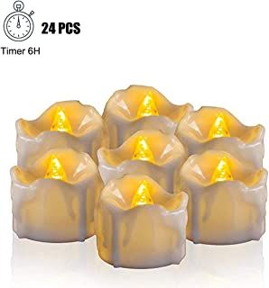 Youngerbaby 24pcs Warm White Flickering Timing Function LED Tea Light Candles (with Decor Rose Petals) Flameless Battery Operated Tealights with Timer (6 Hrs on 18 Hrs Off) for Wedding Christmas Party