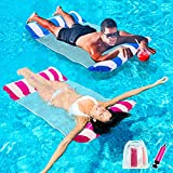 Inflatable Pool Floats for Adults - 2 Packs Portable Pool Floats with a Manual Air Pump, as Water Hammock, Pool Chairs...