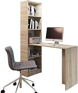 Selly Home Bureau 125x80 cm avec Etagere Rangement 180 cm - Bureau Gaming avec Meuble Rangement - Bureaux avec Bibliothequ...