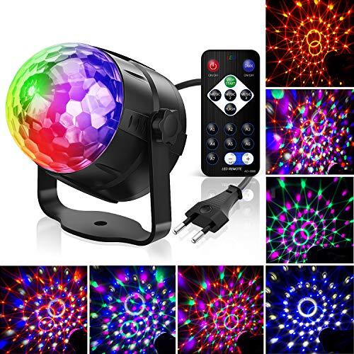 Discokugel,Gvoo LED Party Licht Disco Party Licht 7 Farbenkonbinationen aus 6 Farben,Bühnenbeleuchtung Effektlicht,für Urlaub Party Kinder Geburtstag Karaoke Club Lichteffekte Weihnach