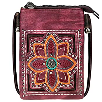 Small Crossbody Purse For Women With Cell Phone Holder Faux Leather Shoulder Bag Back Pocket for Phone LightWeight Passport MWUSA-PH02-219 CF