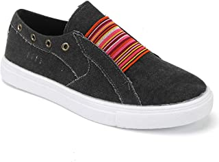 aogula Women Fashion Lightweight Sneakers Breathable Slip on Skate Shoes Canvas with Buckle Classic Low Top Casual Flat Vintage Loafers Outdoor Walking