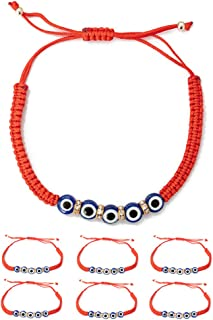 6pcs Evil Eye Charm String Bracelets for Protection and Luck Hand-Woven Red Rope Cord Thread Friendship Bracelet