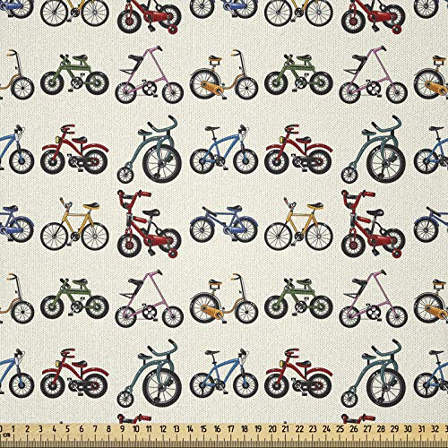 ABAKUHAUS Deportes Tela por Metro, Las Bicicletas De Colores Patrón, Microfibra Decorativa para Artes y Manualidades, 1M (230x100cm), Multicolor