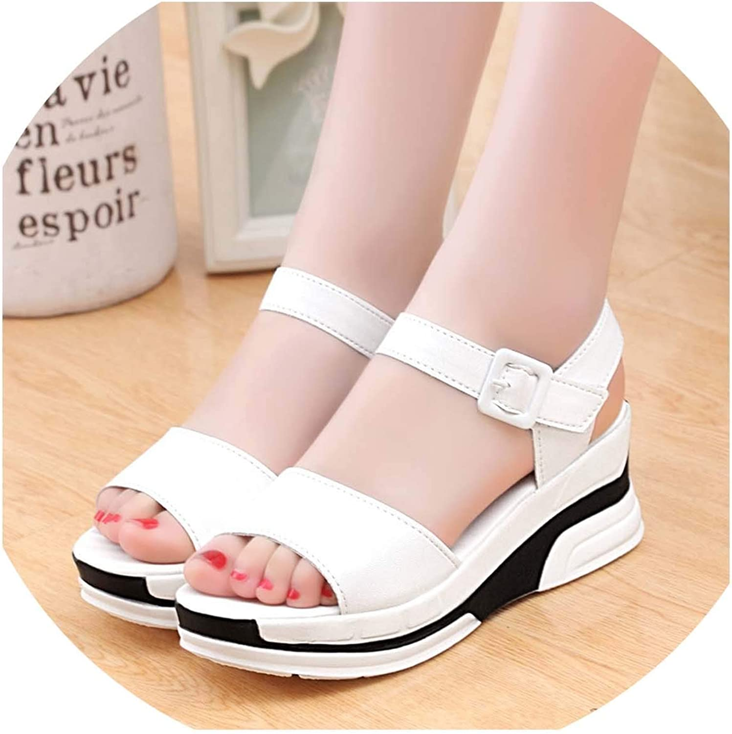 HuangKang Roman Sandals Thick with A Word Heels Female Summer Sexy Female Sandals
