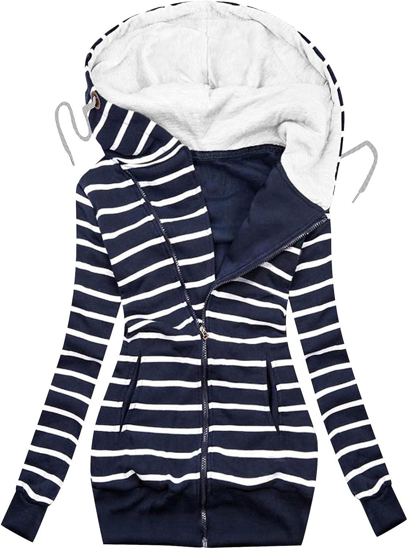 Women Zipper High Neck Jacket Striped Hooded Sweatshirt Coat Long Sleeve Outerwear Tops Turtleneck Pullover with Pocket