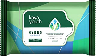 Kaya Youth Hydro Replenish Gentle Cleansing Wet Face Wipes with Aloe Vera, Remove Dirt, Oil, Pollutants, Developed by Dermatologists, Clean and Refreshed Skin, 30 Wipes