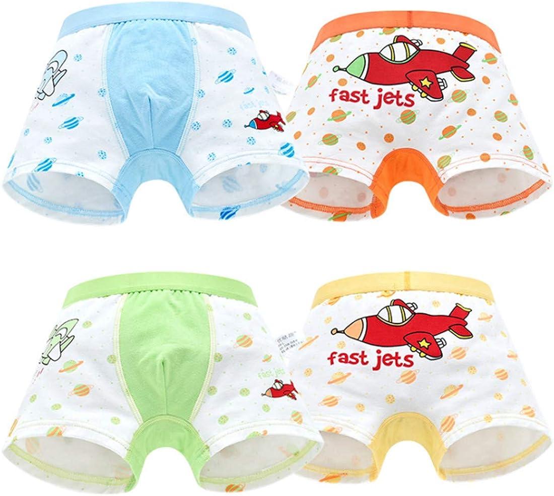 FOFJR Age 1-12 Boys Boxer Briefs Cotton Children's Cute Cartoon Spaceship Shorts Baby Underwear