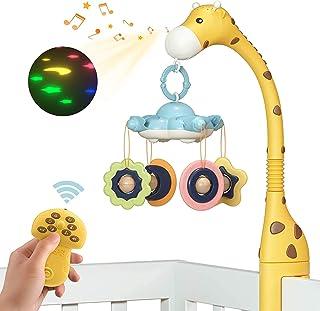 TUMAMA Mobile Musical Lit Bébé,Jouet Lit Bebe Musical Projection,Jouets à Suspendre avec Lumières et Musique,Télécommande,...